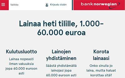 bank norwegian matkaluotto