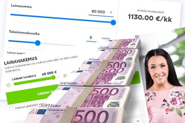 60000 euroa lainaa